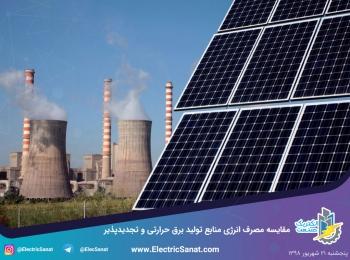 مقایسه مصرف انرژی منابع تولید برق حرارتی و تجدیدپذیر