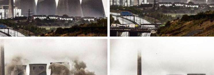 عکس لحظه فرو ریختن برجهای نیروگاه در انگلیس